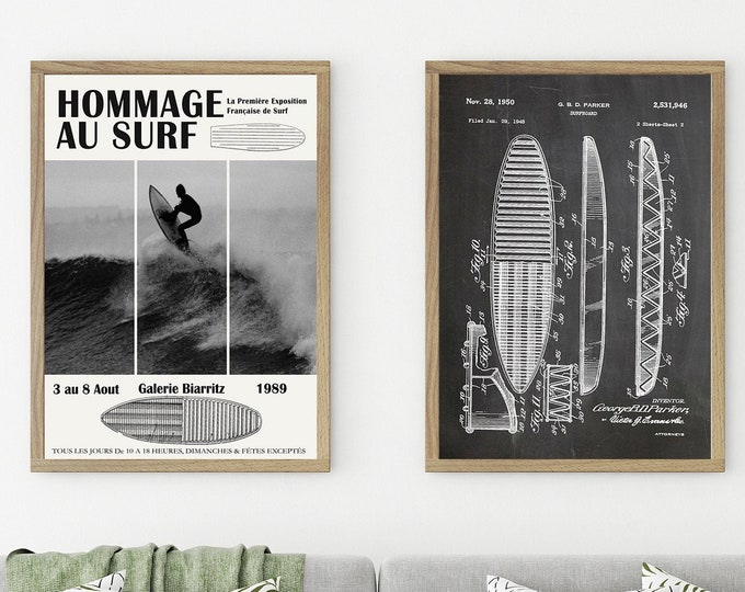 Surfing Posters Set of 2 Surfing Prints Black and White