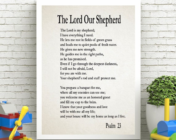 Nursery Bible Print The Lord is my Shepherd Poster Nursery Prayer