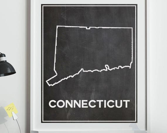 Map of Connecticut Map in Chalkboard Style Outline Map of Connecticut Wall Art Connecticut Poster Connecticut Decor Connecticut Home State
