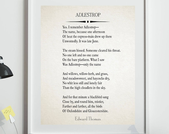 Adlestrop by Edward Thomas 1914 Poetry Poster Poetry Decor Theme of Peace World War I Poetry English Poets Poetry Decor