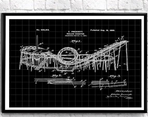 Roller Coaster Patent Drawing 1898 Amusement Park Blueprint WB542