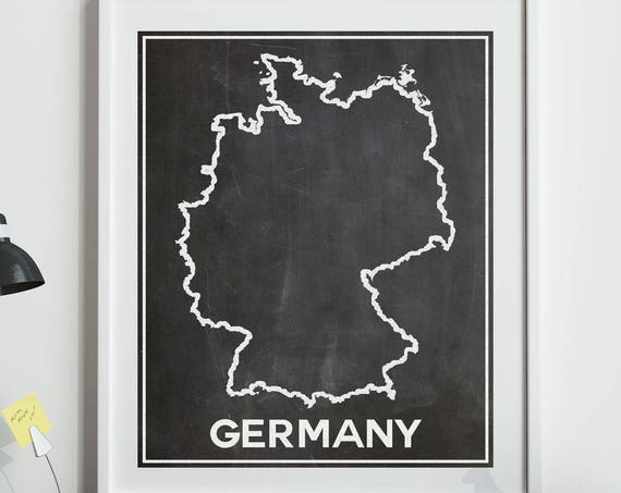 Map of Germany Map Art Print Germany Poster Germany Wall Art German Map German Posters Germany Outline Map Germany Chalkboard Art