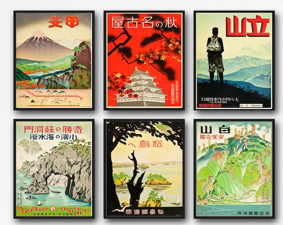Set of 6 Japanese Posters from 1930s Japan Poster Japan Wall Art Japan Japanese Prints Vintage Railway Advertisements 6 Print Set of Posters