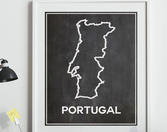 Map of Portugal Map Poster on Chalkboard Background Map Outline Map of Porugal Lisbon Poster Portugal Poster Faro Posters Lisbon Print