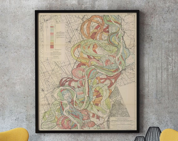 Mississippi River Map 1943 Mississippi River Art