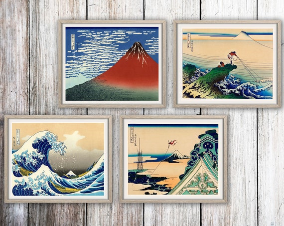 Woodblock Prints Japanese Woodblock Art Set of 4 Woodblock Wall Art by Katsushika Hokusai The Great Wave Toto Asakusa Honganji