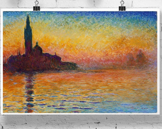 Monet Dusk in Venice Modern Oil Painting San Giorgio Maggiore At Dusk by Claude Monet Expressionist Painting French Art French Painting