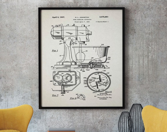 Food Mixer Poster Food Mixer Bake Off Vintage Bakery Gift Baker Gift for Pastry Chef Decor Chef Wall Art Chef Poster Baker Poster WB348