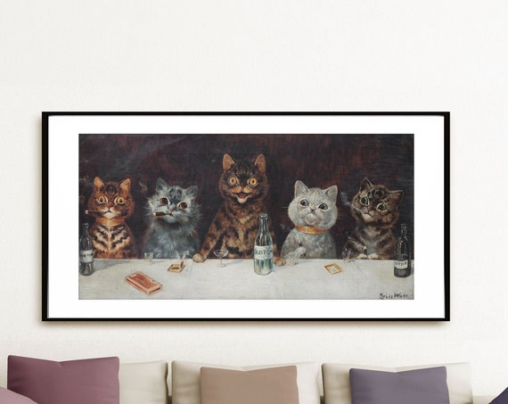 The Bachelor Party by Louis Wain Cats Party Poster Cat Print