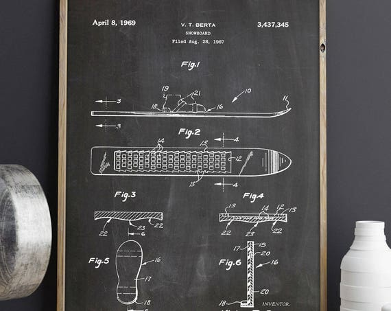 Snowboard Patent Print Snowboard Poster Snowboard Invention Blueprint Drawing of Snowboard Print Snowboarder Gift for Snowboarder Art WB211