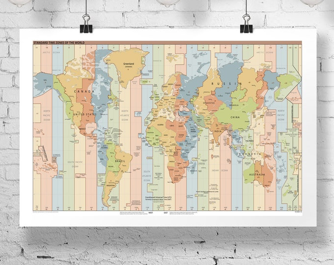 Large World Map World Time Zones Map World Map Print