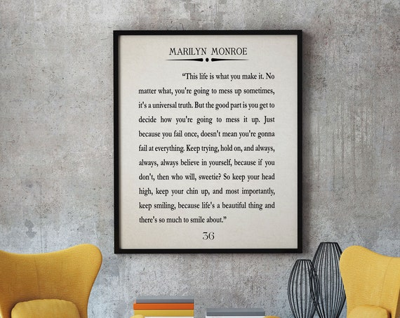 Marilyn Monroe Quote Marilyn Monroe Print Marilyn Monroe Wall Art Marilyn Monroe Decor Marilyn Monroe Art Marilyn Monroe Inspiring Marilyn