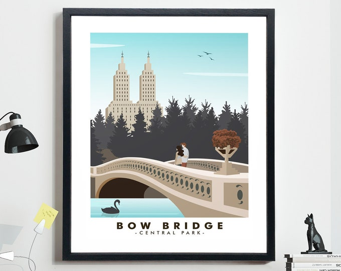 Central Park Travel Poster New York City Poster Bow Bridge