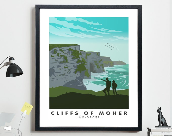 Cliffs of Moher Travel Poster Irish Travel Poster