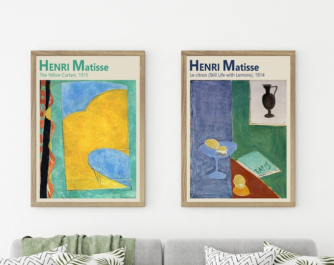 Matisse Abstract Paintings Set of 2 The Yellow Curtain and Still Life with Lemons
