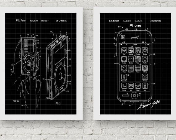 Tech Geek Posters Iphone Patent Poster Ipod Patent Poster Technology Posters Technology Wall Art IT Poster IT Wall Art Tech Decor (WB148)