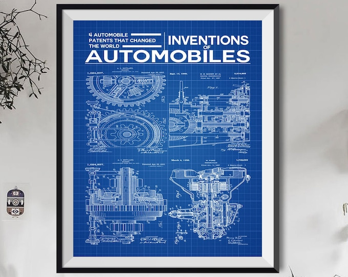 Automobiles Inventions Poster Car Poster Car Wall Art