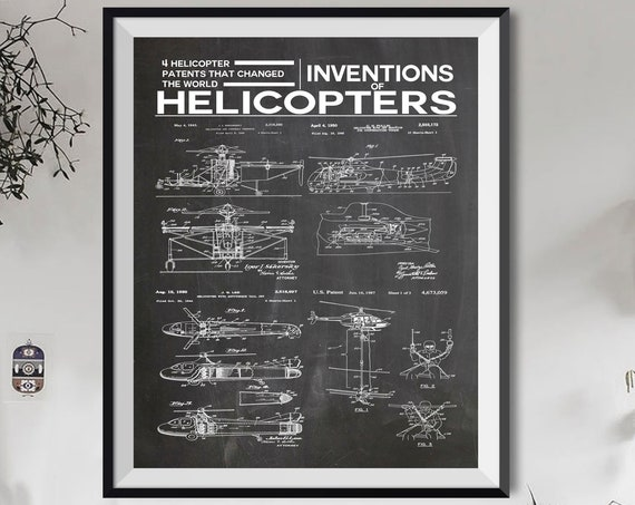 Helicopter Poster Helicopter Wall Art Inventions of Helicopters