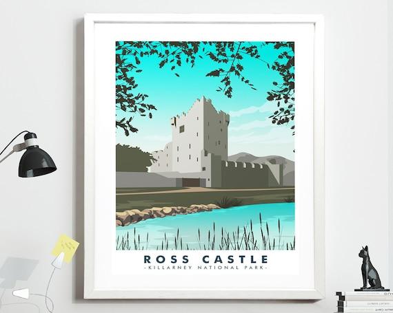 Killarney National Park Co Kerry Travel poster Ross Castle