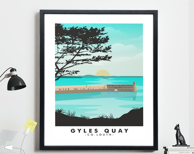 Modern Travel Poster for Gyles Quay Co Louth