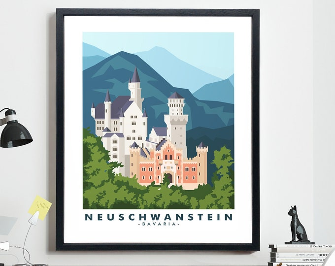 Neuschwanstein Castle Travel Poster Bavaria Travel Poster