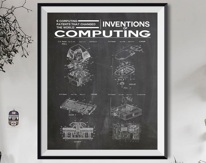 Home Office IT Decor Home Office Poster Inventions of Computing 2