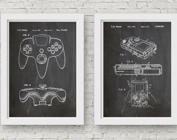 Nintendo Posters Video Game Art Set of Nintendo Patent Prints Gaming Posters Gaming Decor Gift for Gamer Computer Wall Art Computer WB065