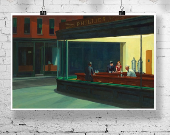 Nighthawks by Edward Hopper 1942 American art Diner Painting