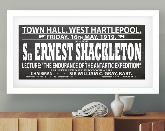 Vintage Sign for Lecture by Sir Ernest Shackleton 1919 Exploration Poster