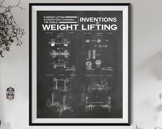 Weights Poster Inventions of Weight Lifting Wall Art