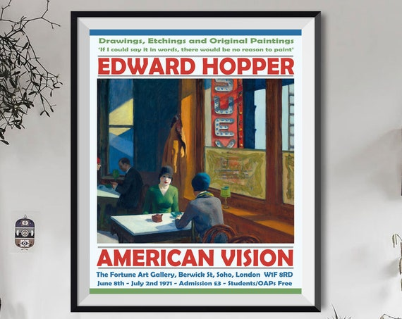 Edward Hopper Exhibition Poster Edward Hopper Art Gallery Print