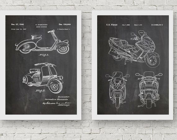 Set of Scooter Posters Scooter Wall Art Motorbike Wall Art Vespa Scooter Suzuki Scooter Electric Scooter WB103