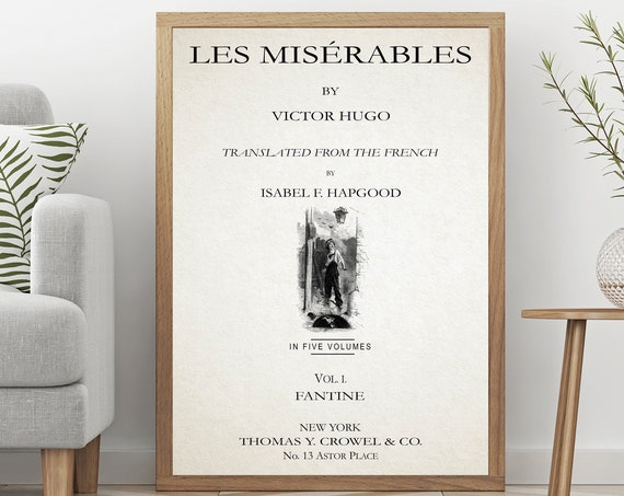 Les Miserables Title Page Victor Hugo Book Page Print