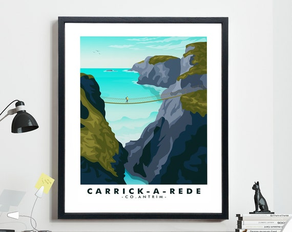 Carrick-a-Rede Rope Bridge Northern Ireland Travel Poster