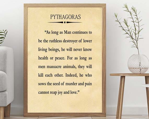 Pythagoras Vegan Quote Vegetarian Poster