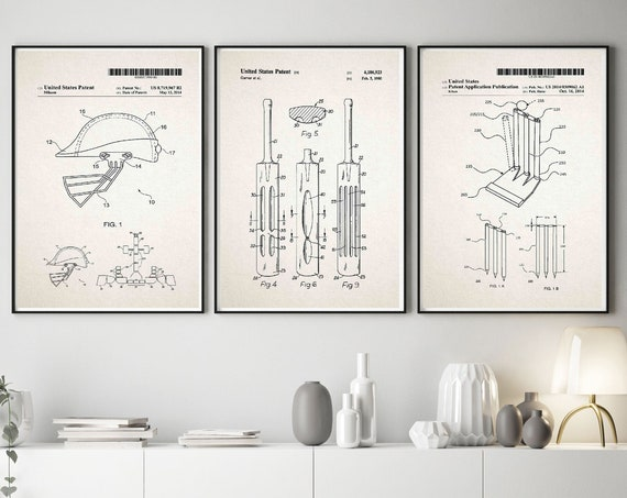 Cricket Invention Posters Set of 3 Cricket Prints Cricket Gift WB567-WB570