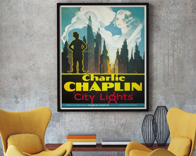 Charlie Chaplin Movie Poster Old Movie Poster City Lights 1931