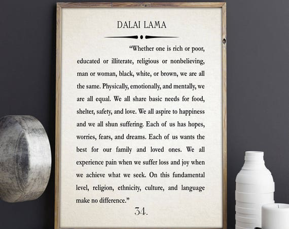Dali Lama Quote Dali Lama Quotation Dali Lama Book Wall Art Large Book Quote Large Book Poster Quote Poster Buddhist Wall Art College Poster