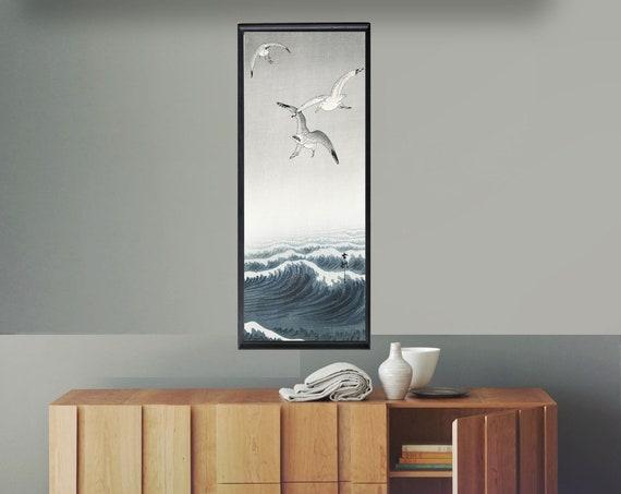 Vertical Woodblock Print Woodblock Japanese Wall Art Three Seagulls Woodblock Japanese Decor Japan Gift Japanese Decor Japanese Seagull Art