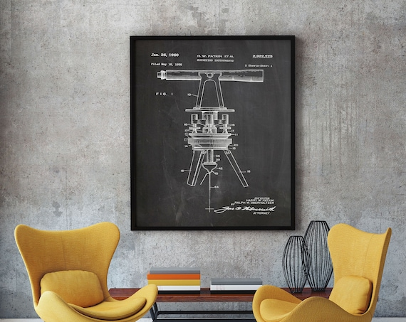 Surveyor Poster Building Poster Blueprint Wall Art Surveying Instrument Patent Print Surveying Gift Large Poster 50x70 poster WB231