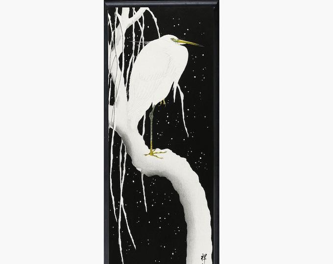 Heron In Snow by Koson Ohara Vintage Woodblock Print Vertical Art Black and White Japanese Print Japanese Wall Art Rare Poster Decor Bird