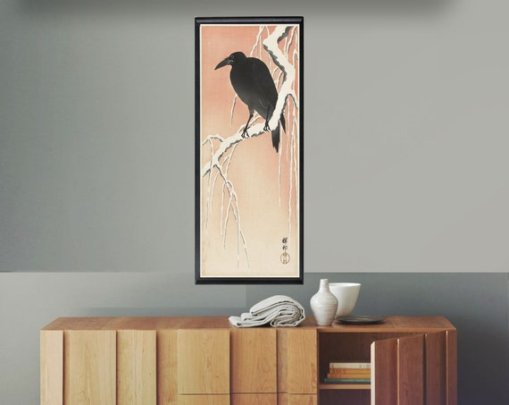 Crow Woodblock Poster Crow on Snowy Branch by Koson Ohara Vertical Poster Peach Decor Peach Poster Peach Wall Art Crow Poster Crow Print