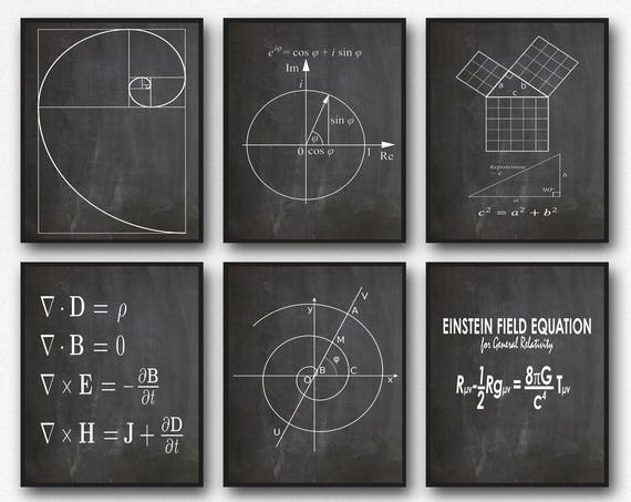 Math Poster Set of 6 Math Prints Fibonacci Golden Spiral Pythagoras's Theorem Euler's Formula Maxwell's Equations Einstein's Theory WB209