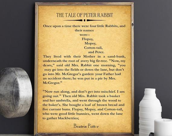 Nursery Book Poster Peter Rabbit Decor Beatrix Potter Book Beatrix Potter Decor Beatrix Potter Gift Wall Art Large Book Wall Art Literary