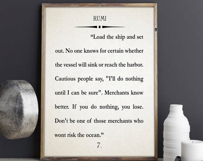 Rumi Quote Rumi Book Art Rumi Poster Inspirational Art Inspiring Quotation Large Book Quote Large Book Poster Literary Poster 50 x 70 18x24