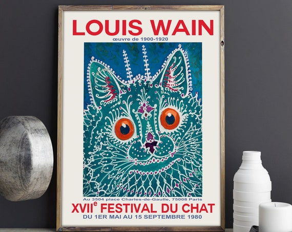 Cat Poster Cat Print Exhibition Cat Festival Print 1980 Louis Wain Print