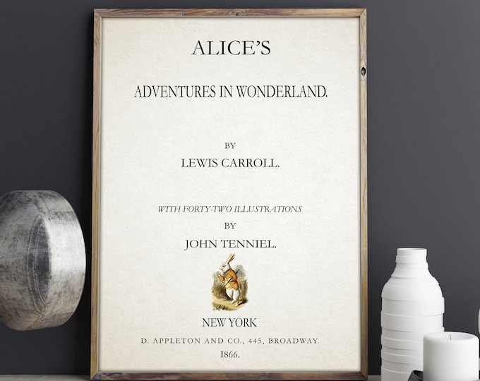 Alice in Wonderland Title Page by Lewis Carroll Book Page