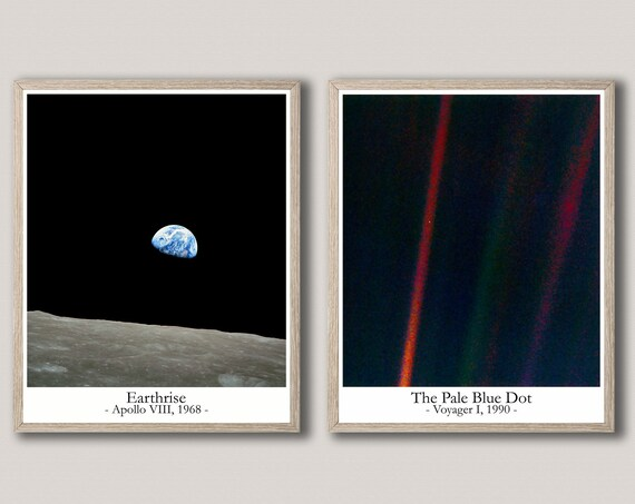 The Pale Blue Dot and Earthrise Photos Space Photos Pale Blue Dot Print