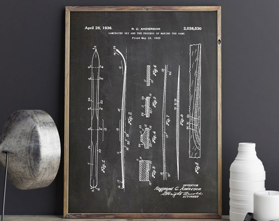 Skiing Gift for Skier Ski Patent Poster Skiing Invention Wall Art Invention Poster Ski Lodge Decor Ski Lodge Wall Art Ski Poster Ski WB215