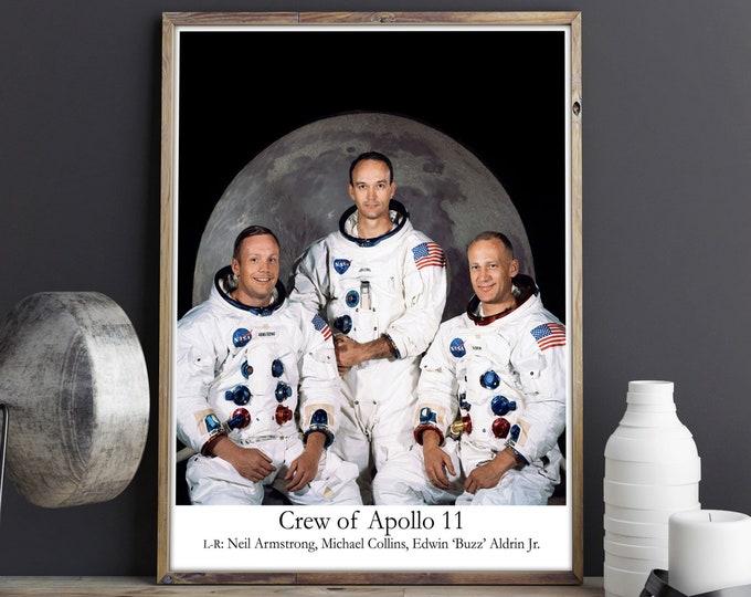 Apollo 11 Crew Photo Neil Armstrong Michael Collins & Buzz Aldrin 1969